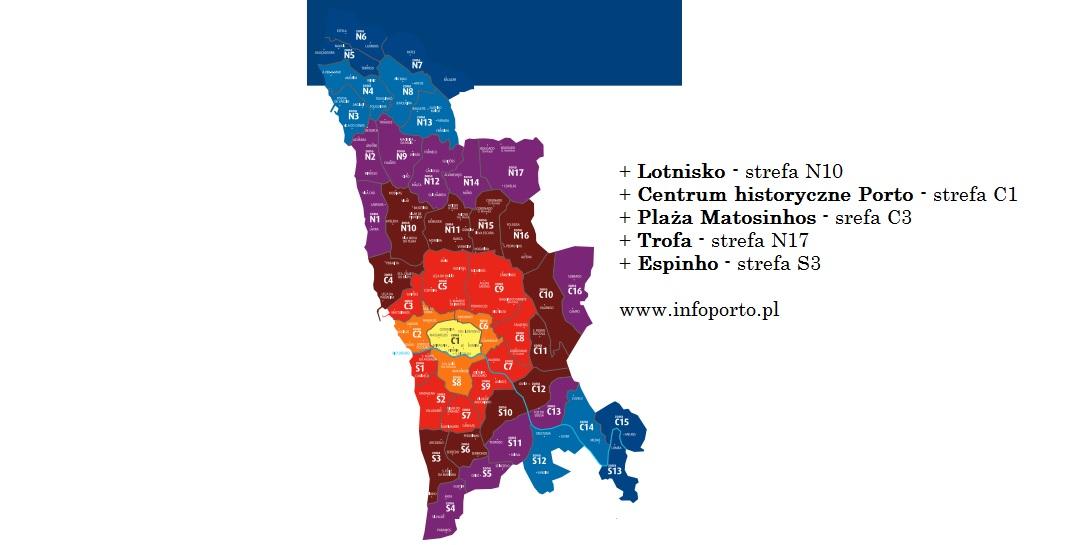 Porto zonas andante strefy na komunikację miejską mapa opis Oporto zonas andante