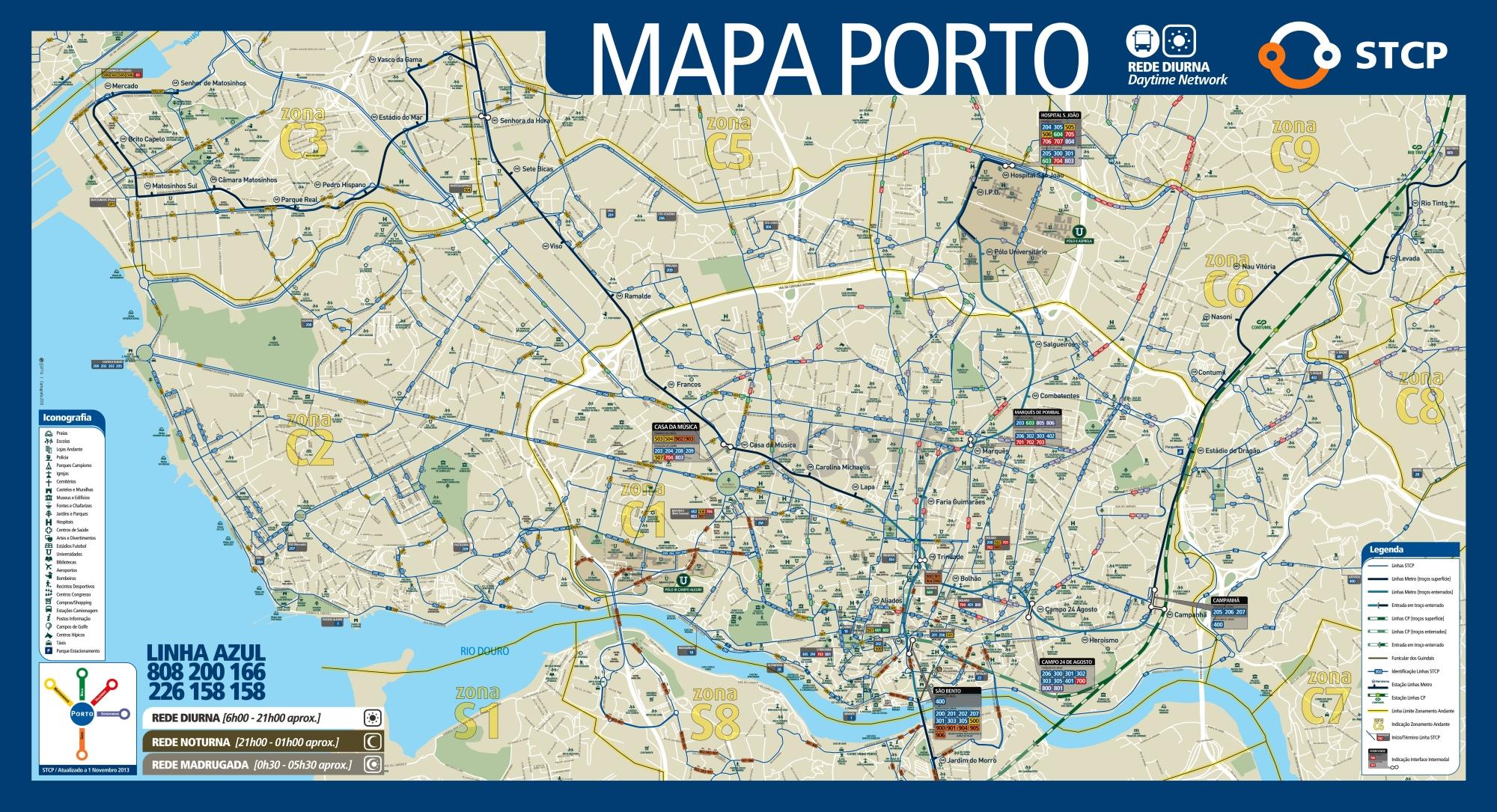Porto zony strefy komunikacji miejskiej w centrum Porto podział komunikacja miejska ceny bilety rodzaje jak używać mapa plan
