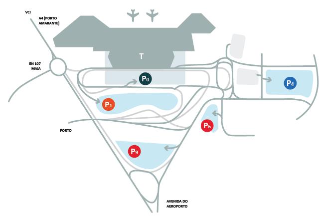 Lotnisko w Porto parkingi parking mapa ANA Aeroporo Porto estociamento mapa lotniska dojazd informacje cena ceny za parking